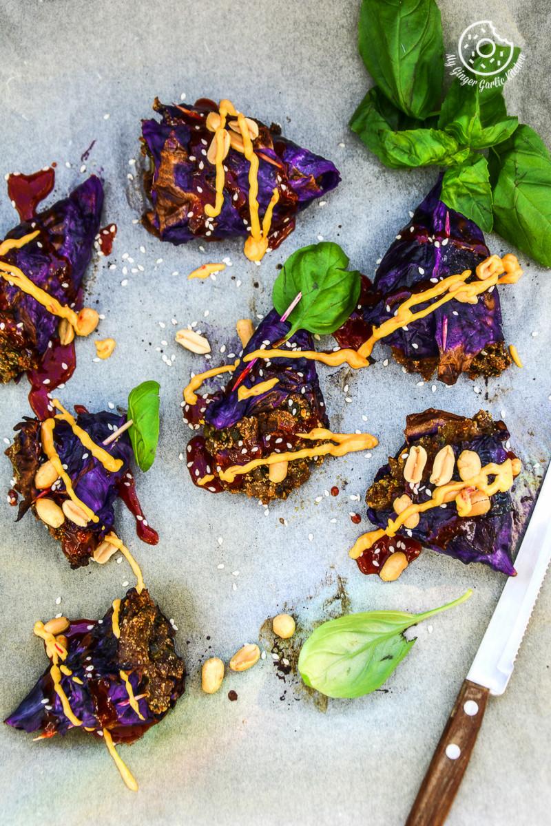 recipe-Poato-Panner-Stuffed-Roaste-Red-Cabbage-Cones-with-Sriracha|mygingergarlickitchen.com/ @anupama_dreams