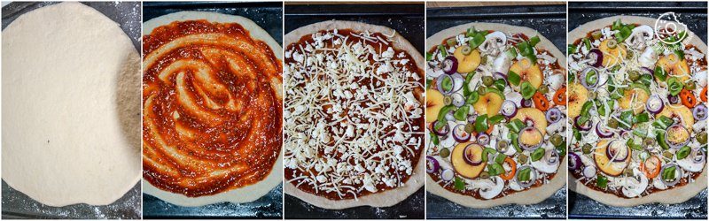 recipe-Wholewheat-Peac-hMushroom-Pizza-with-Feta-and-Fresh-Basil|mygingergarlickitchen.com/ @anupama_dreams