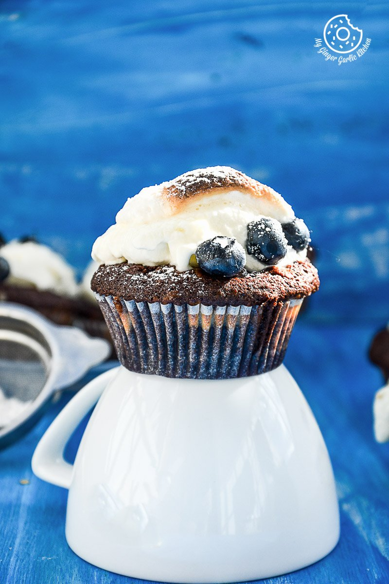 recipe-chocolate-cream-cheese-muffins-with-blueberries|mygingergarlickitchen.com/ @anupama_dreams