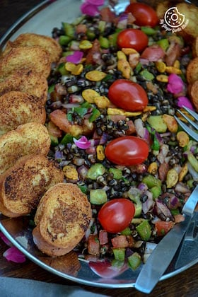 Image of Black Gram Sprouts Salad with Oven Toasted Garlic Baguette