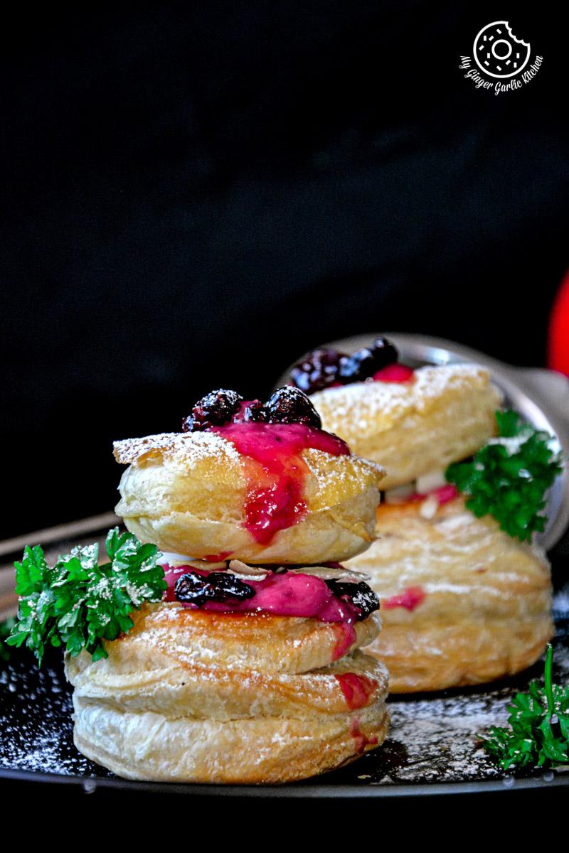 recipes-raspberry-Creme-Fraiche-and-Cookies-Puffs mygingergarlickitchen.com/ @anupama_dreams