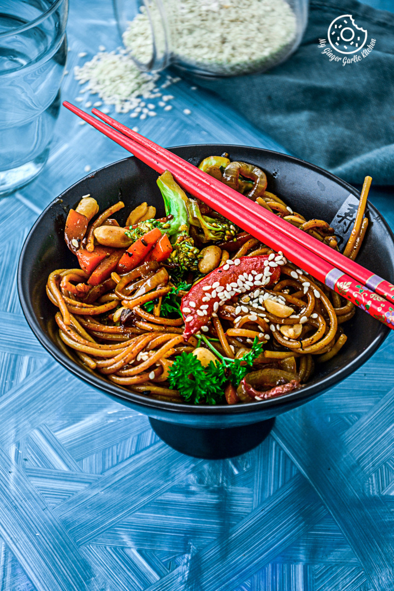 Image of Vegetable Teriyaki Noodles - Teriyaki Stir Fry Noodles