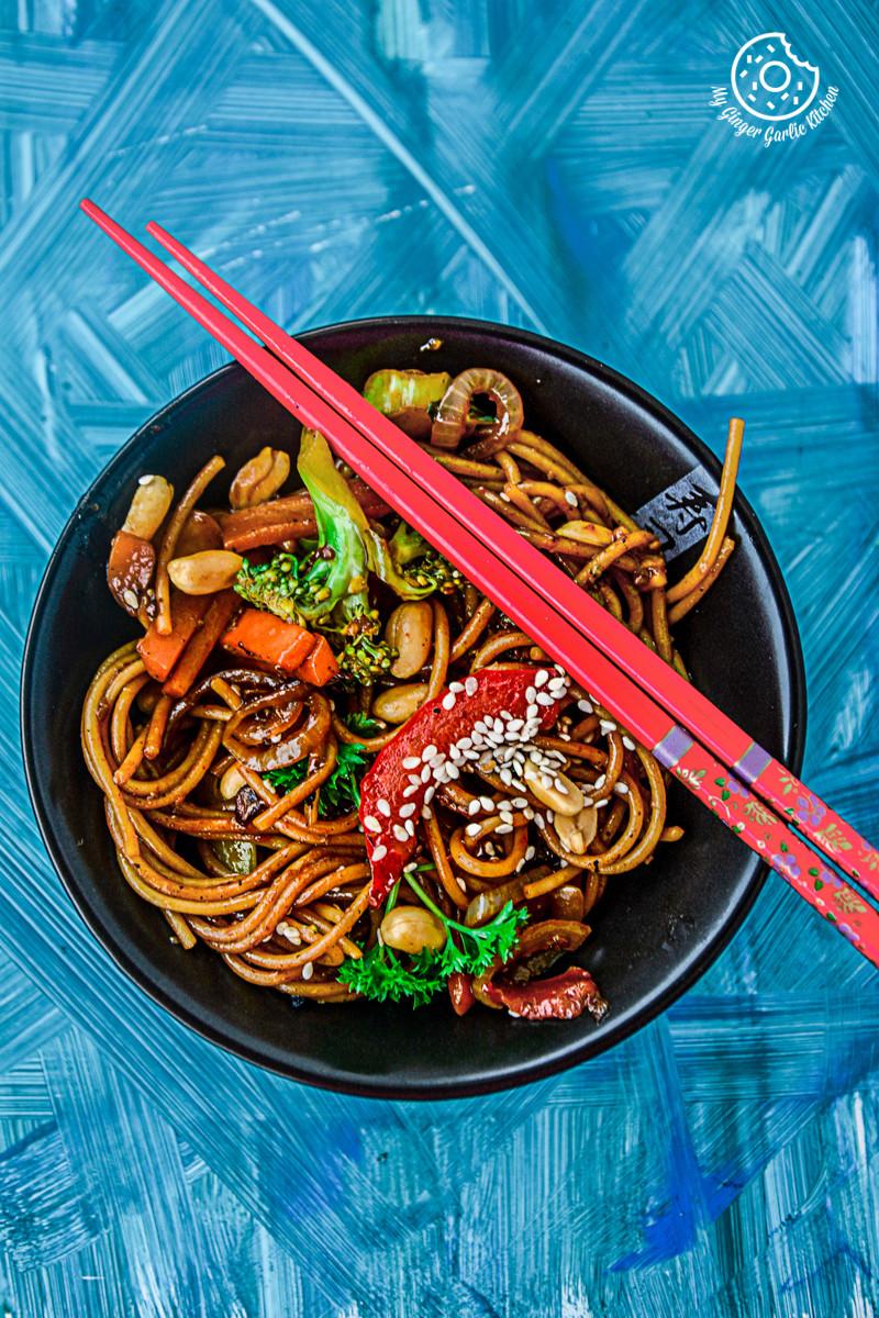 recipes-vegetable-teriyaki-noodles|mygingergarlickitchen.com/ @anupama_dreams