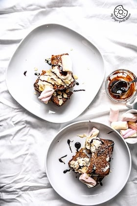 Image of Banana Nutella Stuffed Cardamom Maple Toast Recipe