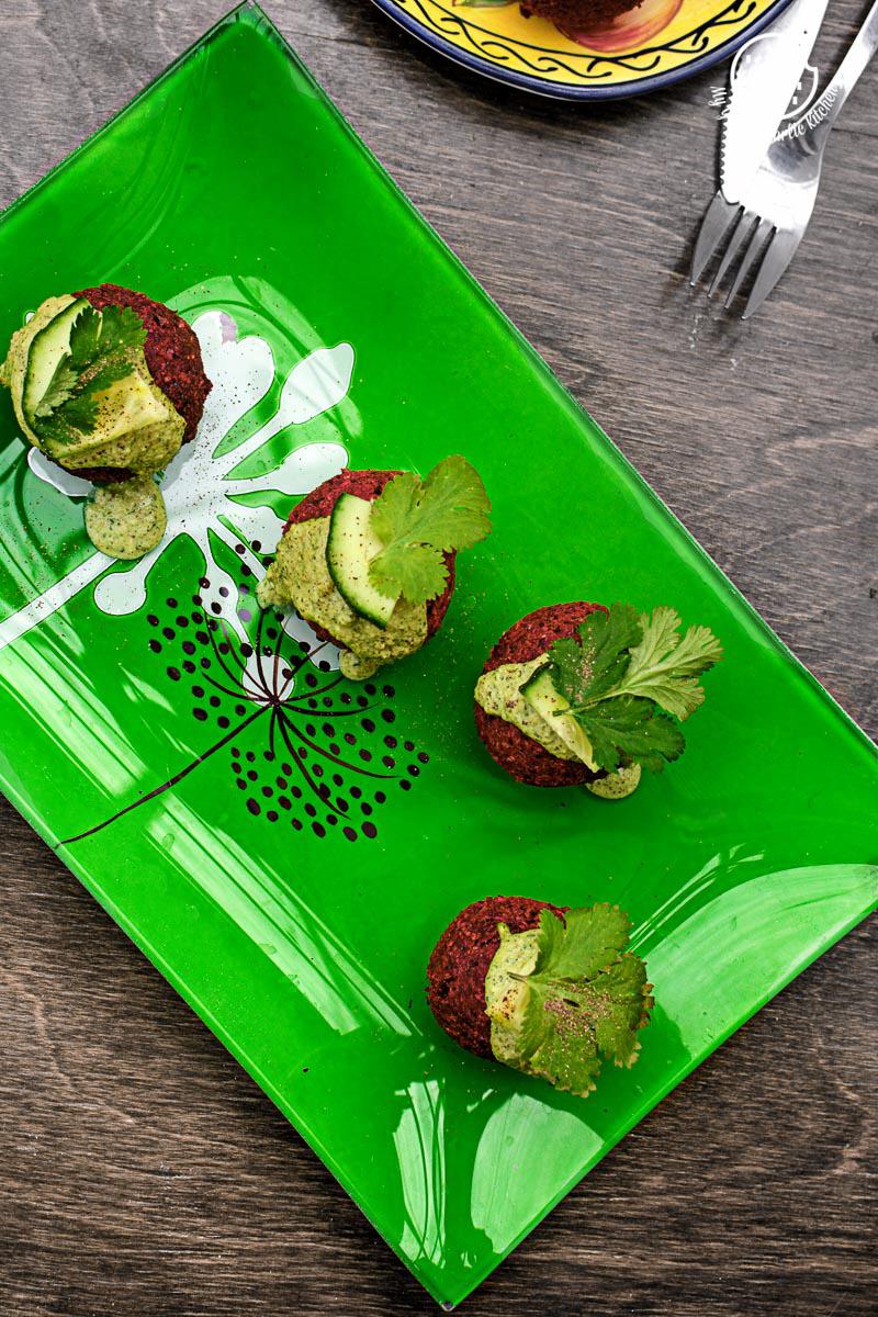 Roasted Beet Falafel With Green Tahini Dip| mygingergarlickitchen.com/ @anupama_dreams