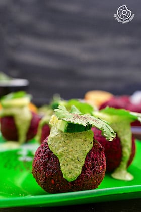 Image of Roasted Beetroot Falafel Recipe With Green Tahini Dip | Beet Falafel Recipe For Lunch
