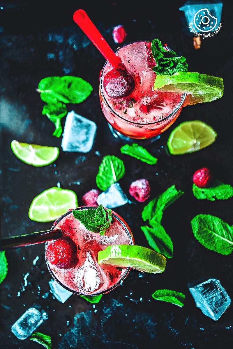 Dark Rum Strawberry Mango Mojito  mygingergarlickitchen.com/ @anupama_dreams