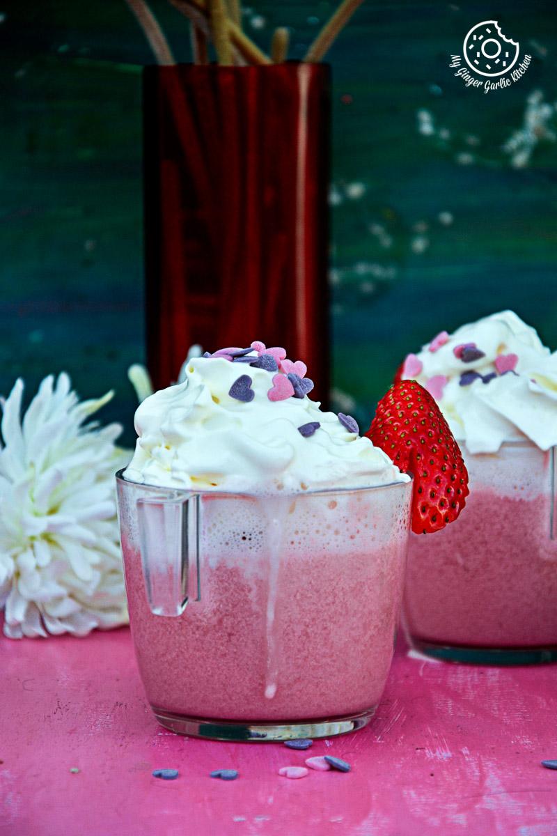 Strawberry White Hot Chocolate  mygingergarlickitchen.com/ @anupama_dreams