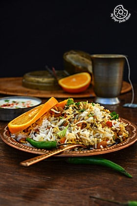 Image of Lobia Rice Recipe - Black Eyed Bean Carrot Biryani