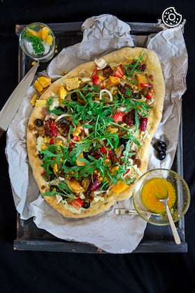 Image of Corn Cream Cheese Flatbread with Orange Vinaigrette | Video
