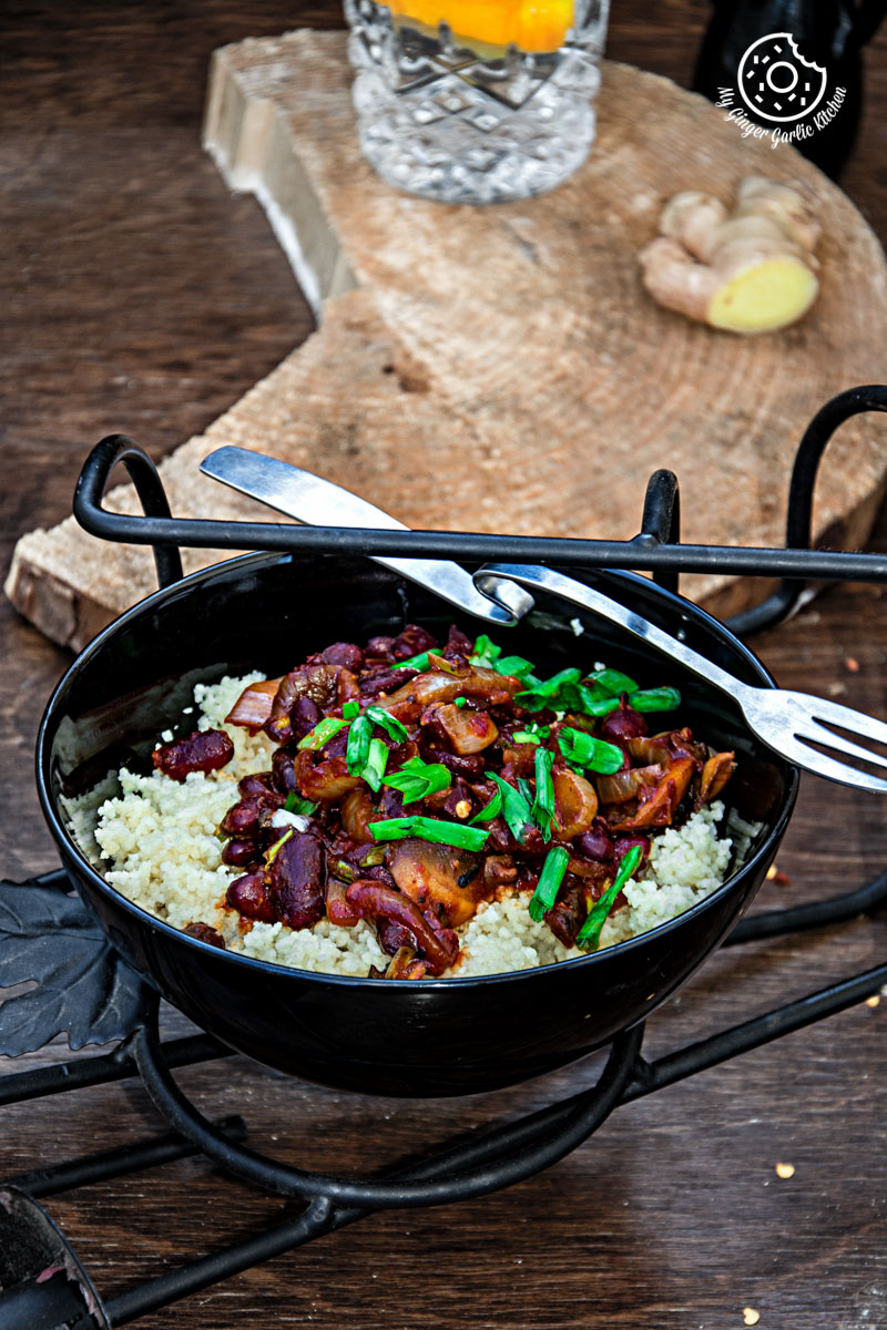 Couscous With Sauteed Mushroom Kidney Beans   mygingergarlickitchen.com/ @anupama_dreams