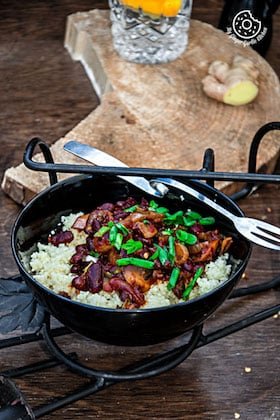 Image of Couscous with Sauteed Mushrooms Kidney Beans - Video