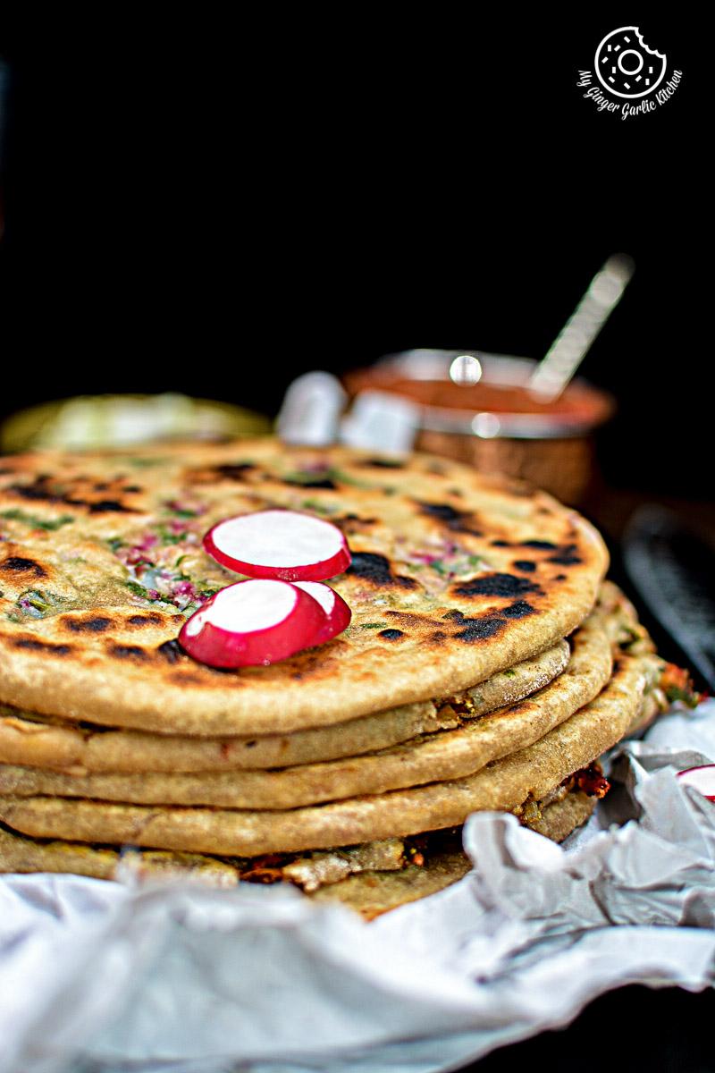 Mooli Paratha With Strawberry Grapes Chutney   mygingergarlickitchen.com/ @anupama_dreams