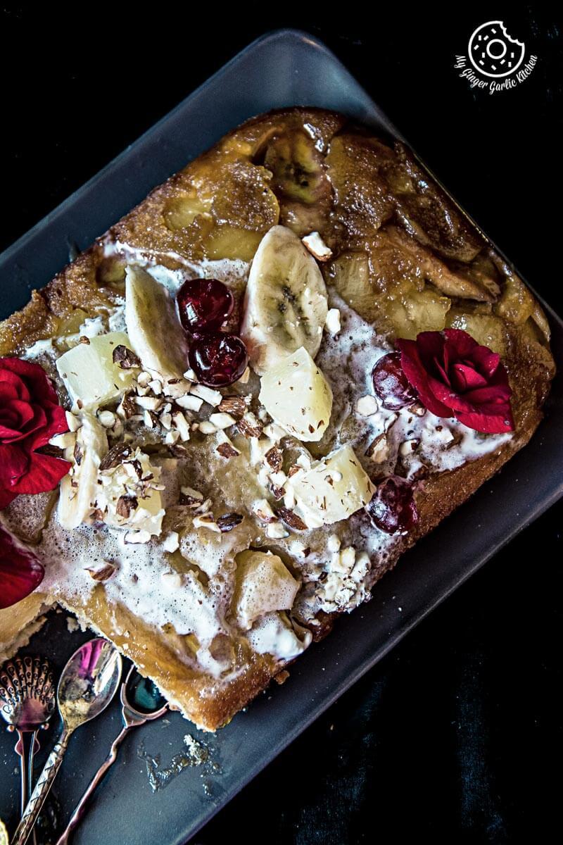 Banana Pineapple Upside Down Cake | mygingergarlickitchen.com/ @anupama_dreams