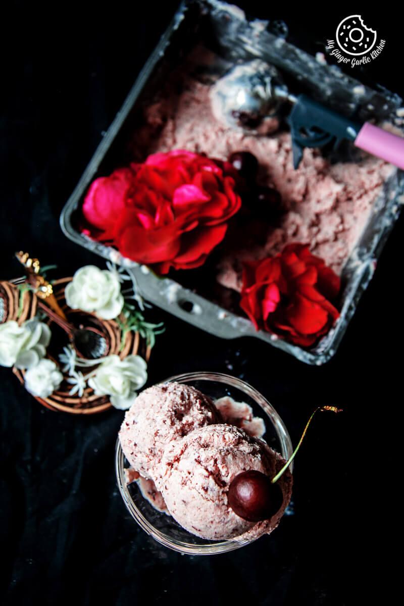 Classic and Easy Cherry Lassi Ice Cream | mygingergarlickitchen.com/ @anupama_dreams