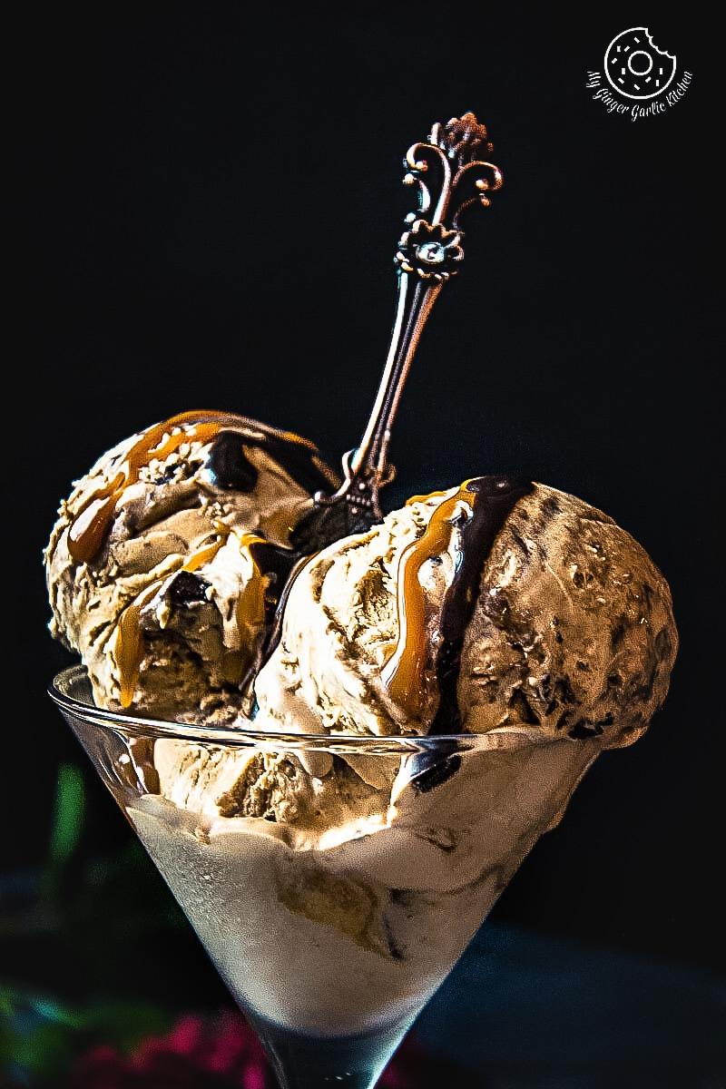 No-Churn Coffee Caramel Chocolate Ice-Cream | mygingergarlickitchen.com/ @anupama_dreams