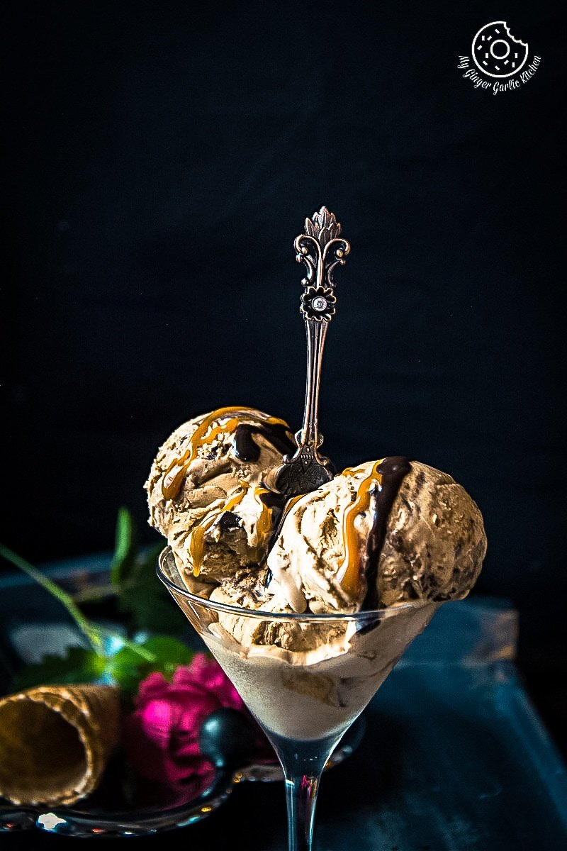 No-Churn Coffee Caramel Chocolate Ice-Cream | mygingergarlickitchen.com/ @anupama_dreams