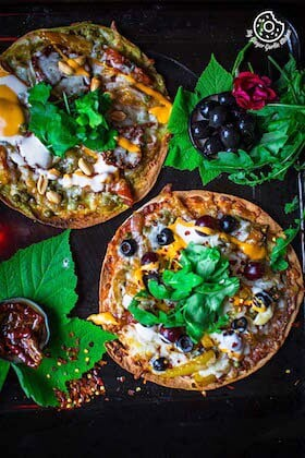 Image of Caramelized Veggie Tortizza 2 Ways [Tortilla Pizza]| Video Recipe