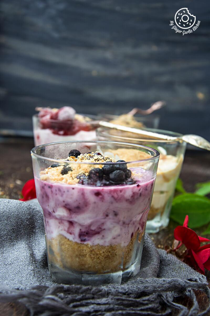 Cheesecake Shots - 4 Ways | mygingergarlickitchen.com/ @anupama_dreams
