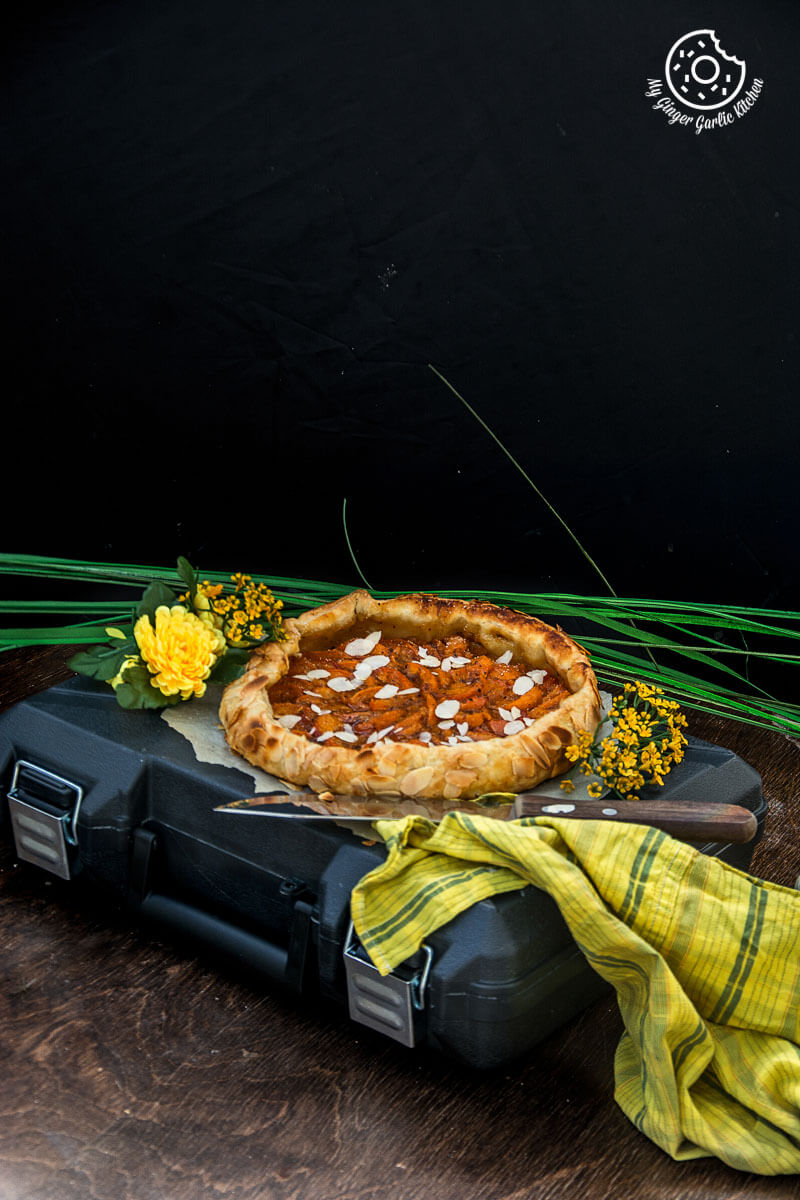 Apricot Galette with Almond Topping | mygingergarlickitchen.com/ @anupama_dreams