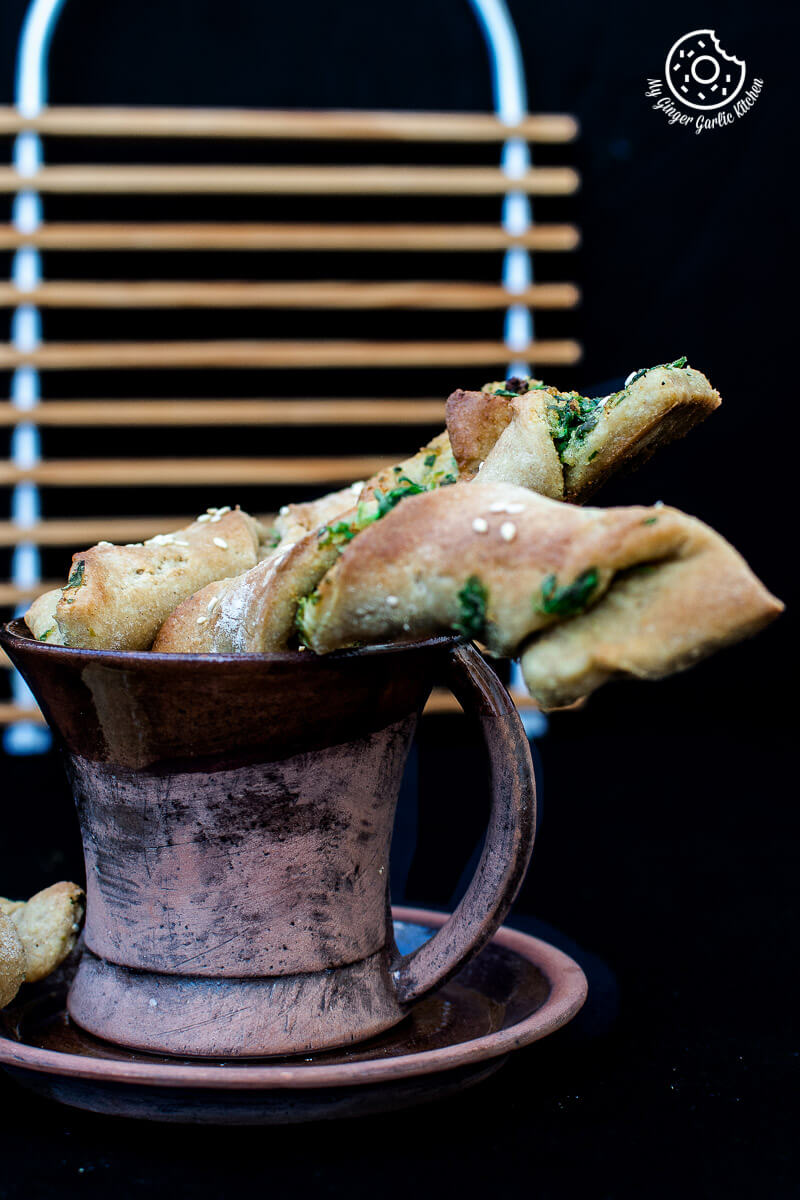 Pizza Dough Twists With Parsley And Sesame | mygingergarlickitchen.com/ @anupama_dreams