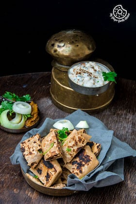 Image of Rajma Tofu Paratha Pocket Bites With Boondi Raita
