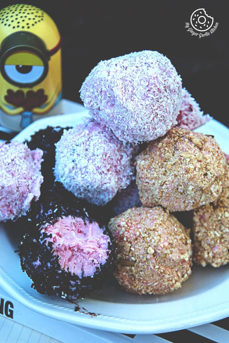 No Bake Strawberry Cheesecake Bites | mygingergarlickitchen.com/ @anupama_dreams