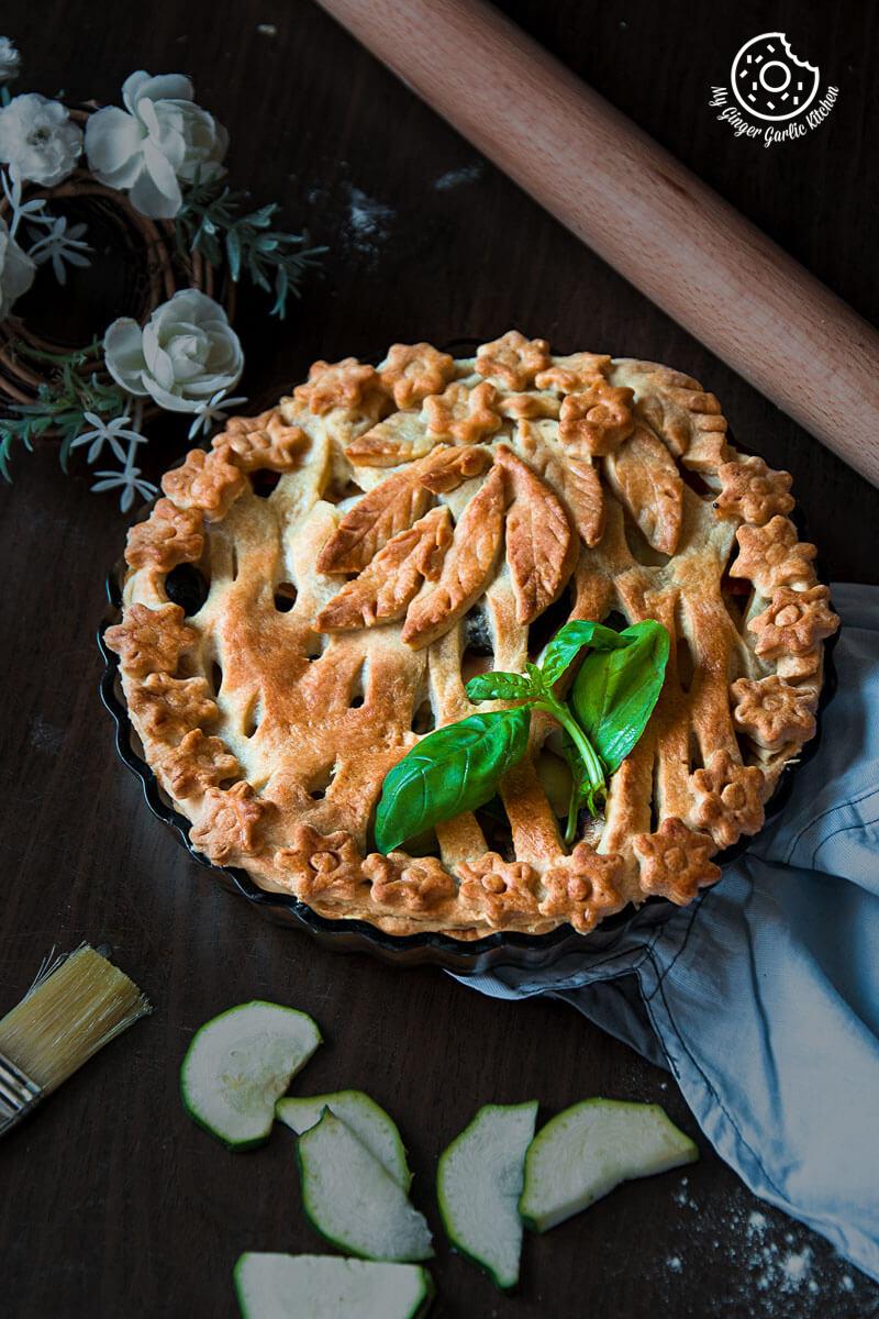 Veggie Pizza Pie   mygingergarlickitchen.com/ @anupama_dreams