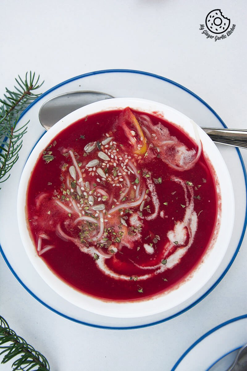 Creamy Carrot Beet Tomato Soup | mygingergarlickitchen.com/ @anupama_dreams