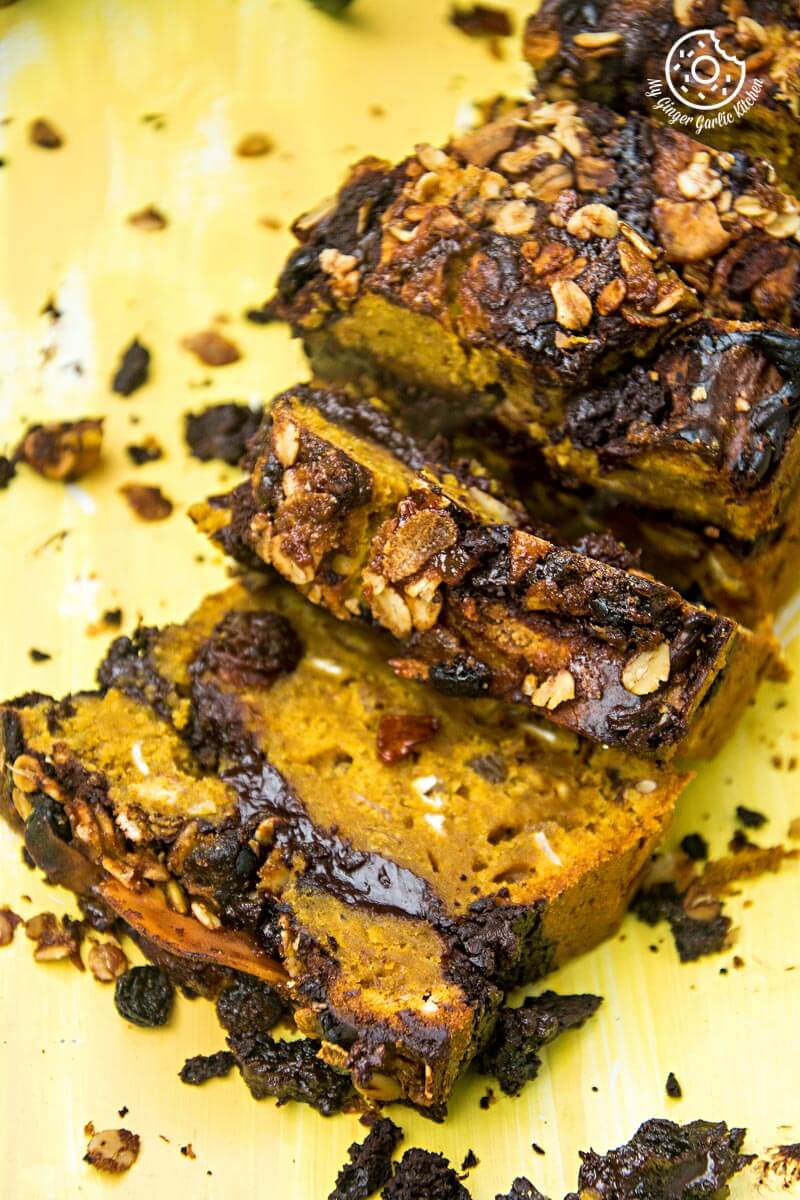 Pumpkin Muesli Chocolate Bread   mygingergarlickitchen.com/ @anupama_dreams