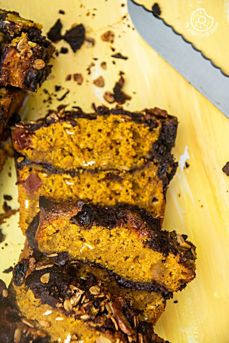 Pumpkin Muesli Chocolate Bread | mygingergarlickitchen.com/ @anupama_dreams