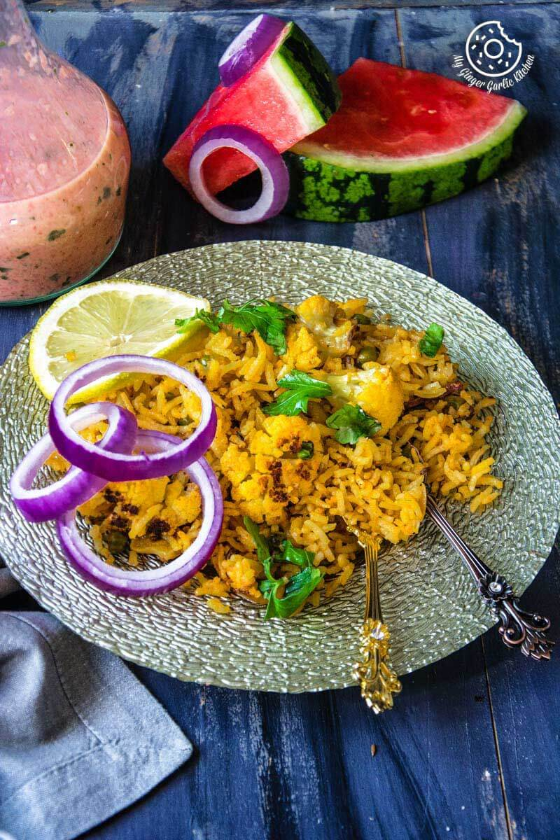 Roasted Cauliflower Pilaf With Watermelon Sauce | mygingergarlickitchen.com/ @anupama_dreams
