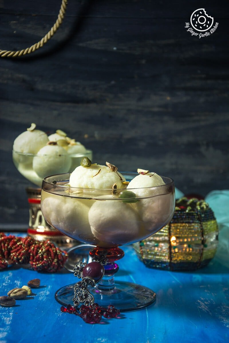 rasgulla served in a glass bowl