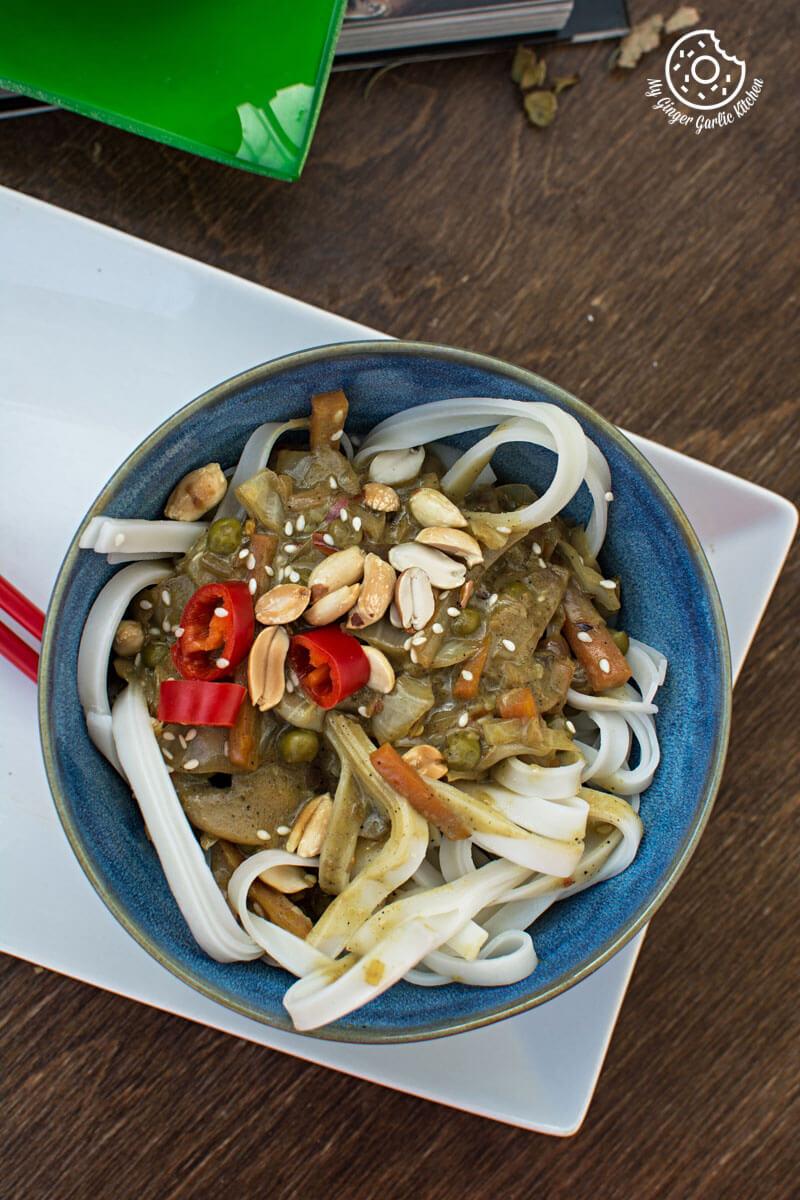Vegan Thai Green Curry Vegetable Noddles | mygingergarlickitchen.com/ @anupama_dreams