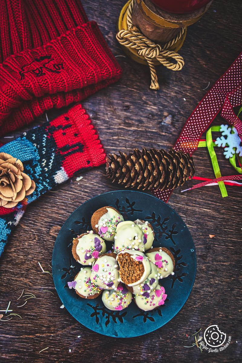 overhead shot of winter gingerbread truffles