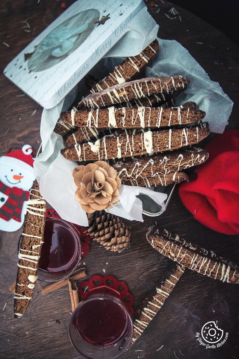 Gingerbread Biscotti With White Chocolate Drizzle | mygingergarlickitchen.com/ @anupama_dreams