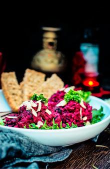 Image - recipes Roasted Beet Potato Holiday Salad anupama paliwal my ginger garlic kitchen Pinterest
