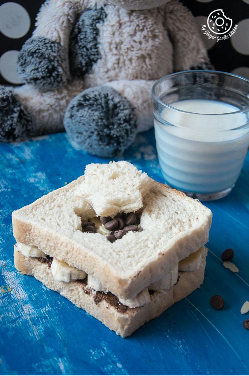 Peanut Butter Chocolate Banana Sandwich | mygingergarlickitchen.com/ @anupama_dreams
