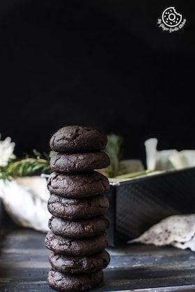 Eggless Triple Chocolate Cookies   Video Recipe