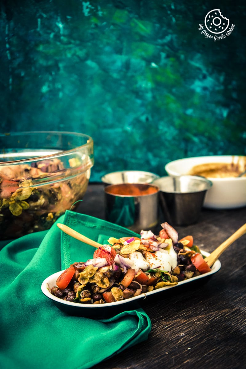 Kala Chana Sprouts Chaat | Black Chickpeas Chaat | mygingergarlickitchen.com/ @anupama_dreams