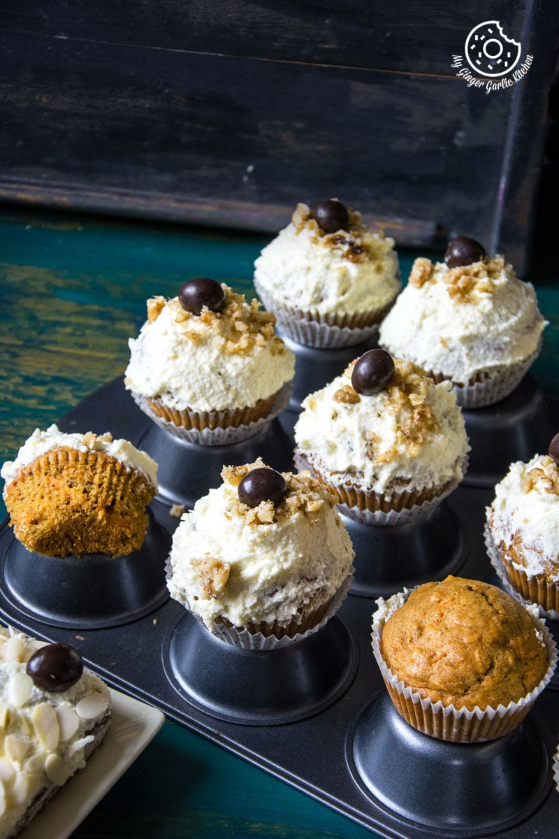 Carrot Cake Cupcakes with Lemon Ricotta Frosting | mygingergarlickitchen.com/ @anupama_dreams