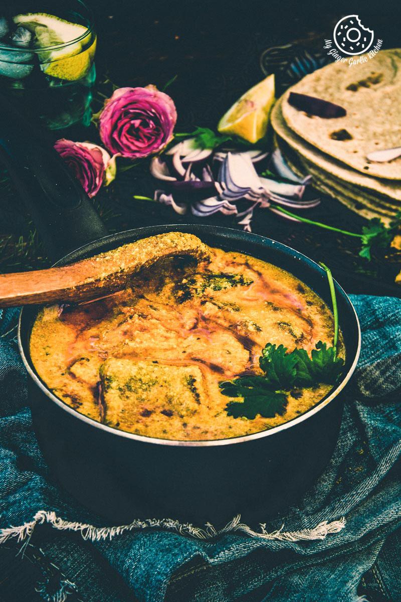 Rajashthani Besan Ke Cheele Ki Sabzi   Chickpea Pancake Curry   mygingergarlickitchen.com/ @anupama_dreams