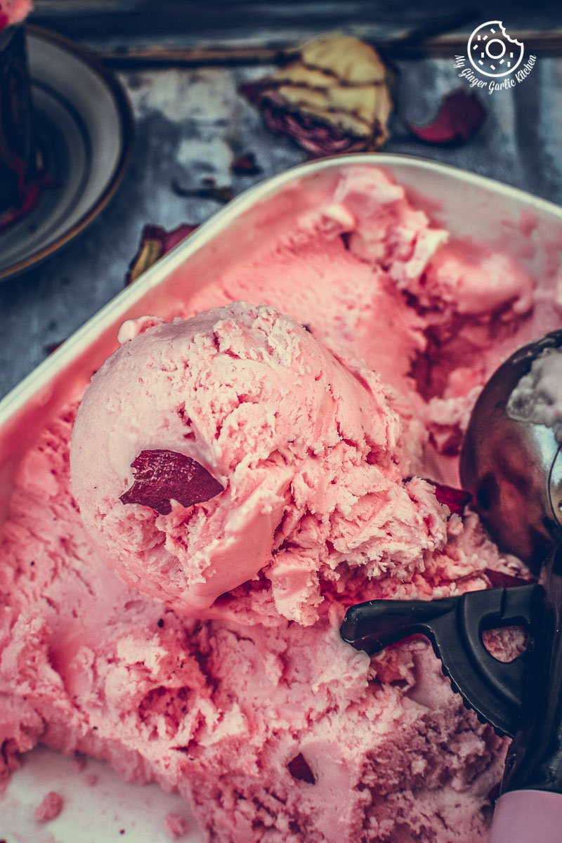 a close shot of delicately flavored rose ice cream