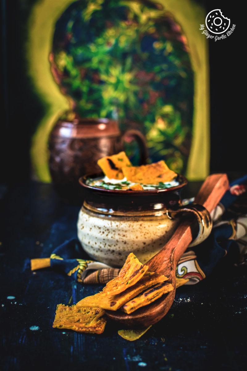 Rajasthani Besan Ke Cheele Ka Raita | Chickpea Pancake Raita | mygingergarlickitchen.com/ @anupama_dreams