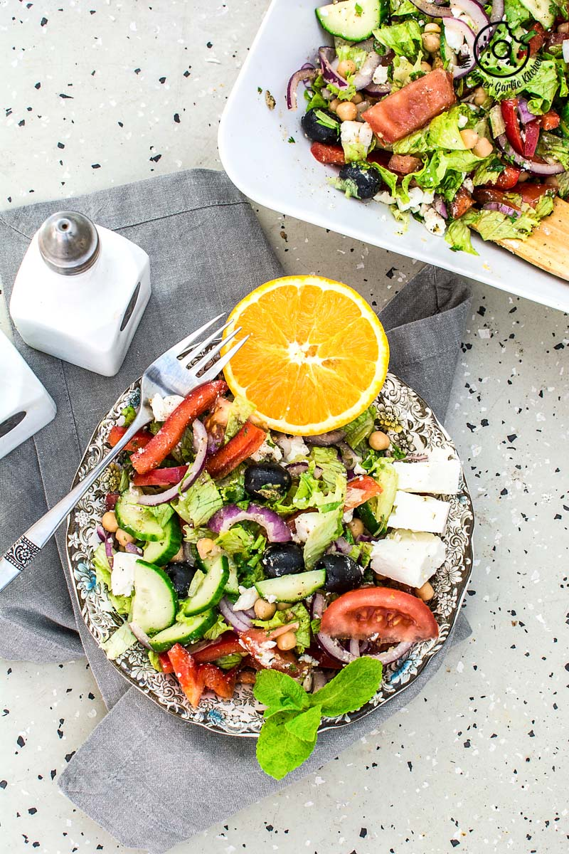 Greek Style Chickpea Feta Salad With Lemon Garlic Dressing