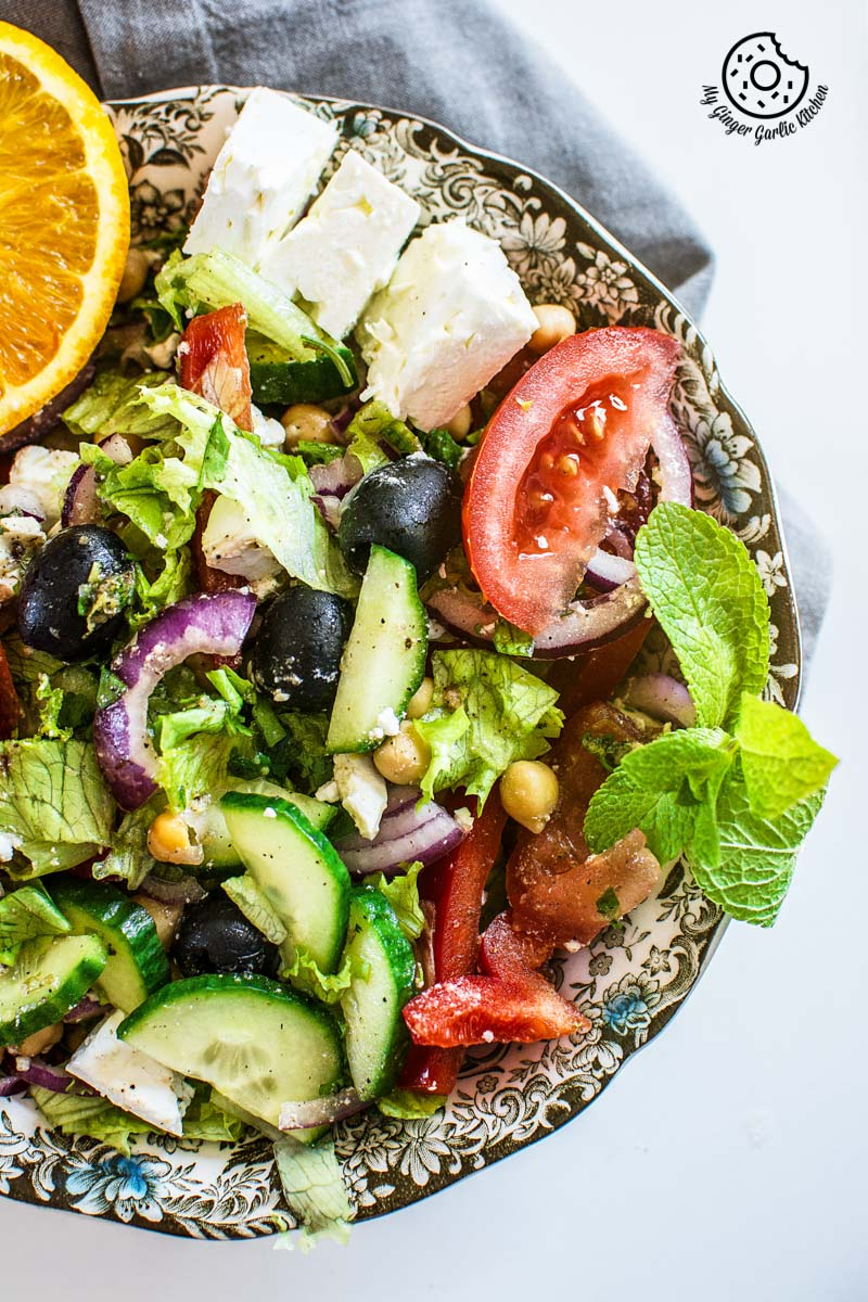 Chickpea Feta Greek Salad With Lemon Garlic Dressing | mygingergarlickitchen.com/ @anupama_dreams