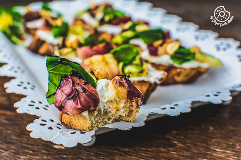 Peach Bruschetta with Whipped Ricotta and Zucchini | mygingergarlickitchen.com/ @anupama_dreams