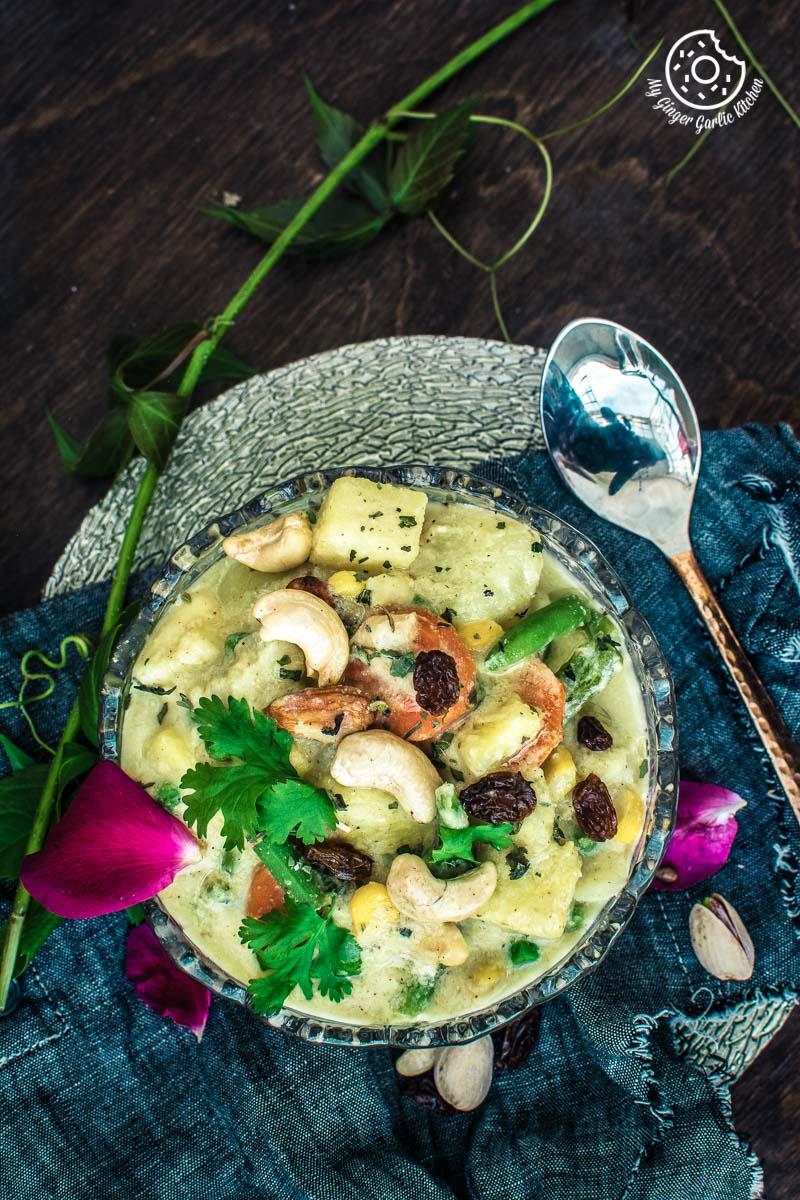Mughlai Navratan Korma | White Gravy Navratan Kurma Recipe| mygingergarlickitchen.com/ @anupama_dreams