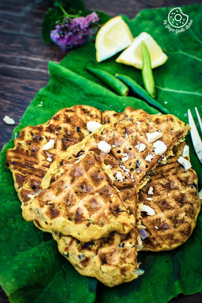Spicy Zucchini Waffles | Besan Chilla Waffles | mygingergarlickitchen.com/ @anupama_dreams