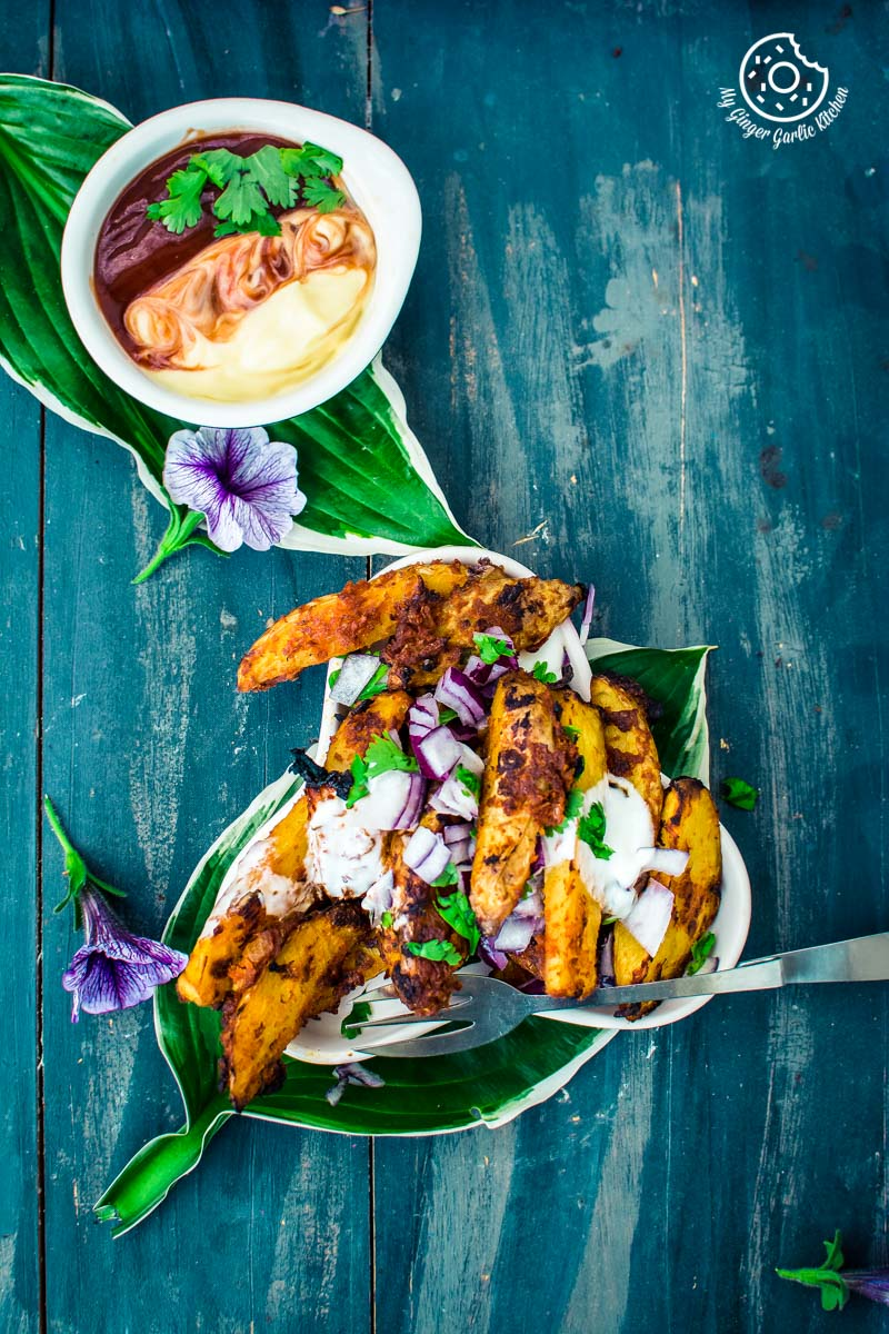 How To Make Baked Masala Potato Wedges | mygingergarlickitchen.com/ @anupama_dreams